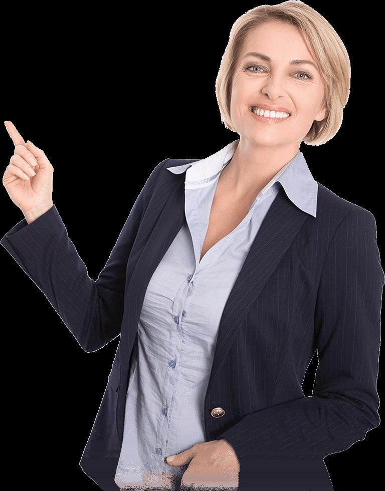 Mulher de negócios sorrindo porque trabalha na STUSEG, melhor corretora de seguros de SBC - SP