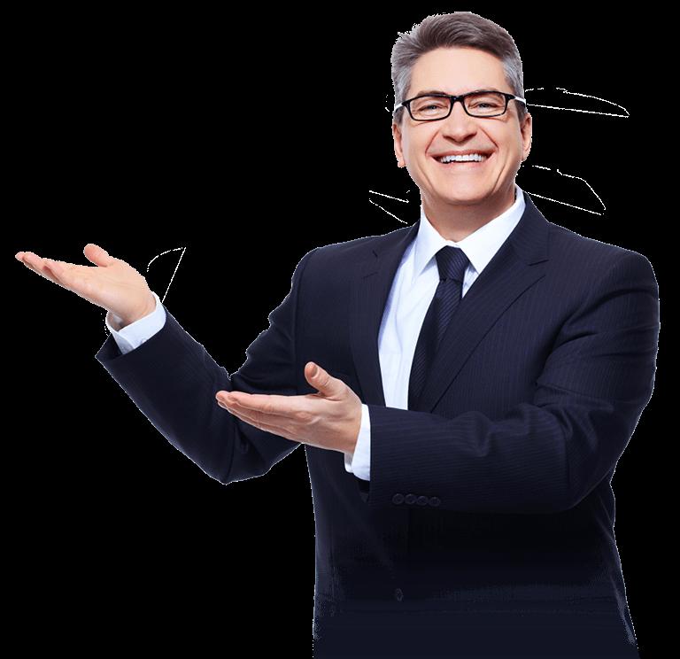 Homem de negócios apontando para as vantagens da STUSEG - Corretora de Seguros em São Bernardo do Campo - SBC - SP